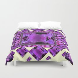 ART DECO PURPLE AMETHYST FEBRUARY GEM BIRTHSTONE MODERN ART Duvet Cover