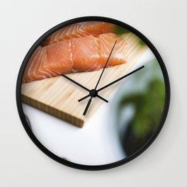Raw salmon fillets Wall Clock