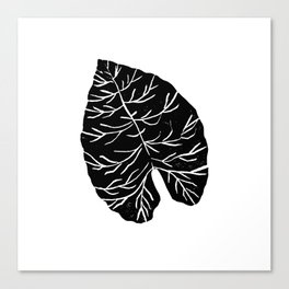 Big Leaf linocut black and white modern minimal abstract hipster trendy house plants Canvas Print