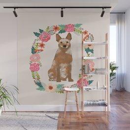 Australian Cattle Dog red heeler floral wreath dog gifts pet portraits Wall Mural