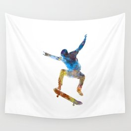Man skateboard 01 in watercolor Wall Tapestry
