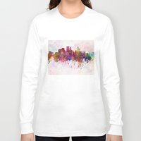 minneapolis Long Sleeve T-shirts featuring Minneapolis skyline in watercolor background by Paulrommer