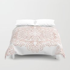 Mandala Rose Gold Pink Shimmer by Nature Magick Duvet Cover