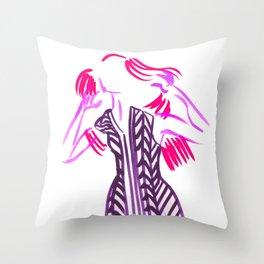 Little Striped Dress - Pink Palette  Throw Pillow