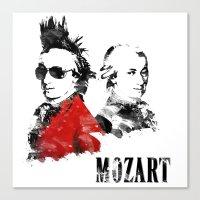 mozart Canvas Prints featuring Mozart Punk by viva la revolucion