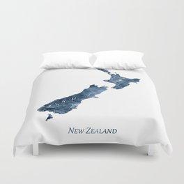 New Zealand Map Blue Watercolor by Zouzounio Art Duvet Cover