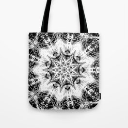 Atomic Black Center Swirl Mandala Tote Bag