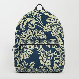 damask in white and blue vintage Backpack