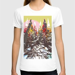 """Trees, Mountains, Flowers, Sun Vector Illustration"" T-shirt"