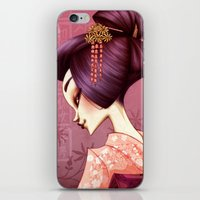 geisha iPhone & iPod Skins featuring Geisha by Christine Alcouffe