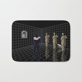 Man in a room with statues and cats Bath Mat