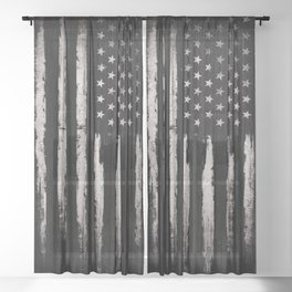 White Grunge American flag Sheer Curtain