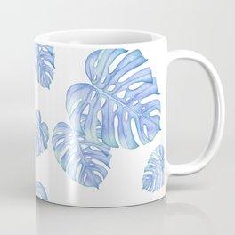 Blue Green monstera leaf, botanical, plant lover, must have gift Coffee Mug