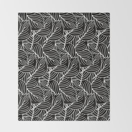 Simple Leaves Pattern - White on Black - Mix & Match with Simplicity of life Throw Blanket