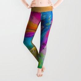 MOLECULAR RAINBOW ROSE ABSTRACT ART Leggings