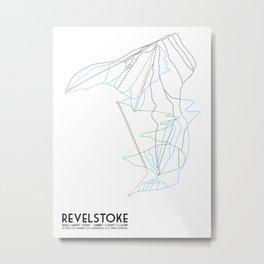 Revelstoke, BC, Canada - Minimalist Trail Map Metal Print