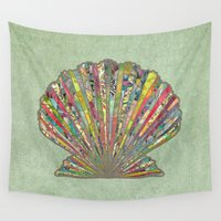 shell Wall Tapestries featuring Sea Shell by Elephant Trunk Studio