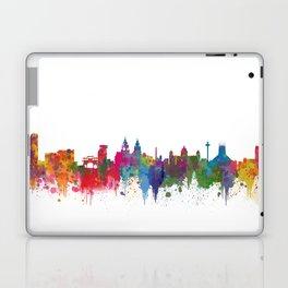 Liverpool seafront city line skyline waterfront watercolour colours colour splash by Evangelos Laptop & iPad Skin