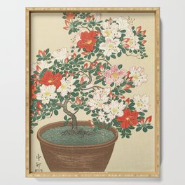 Vintage Azalea Japanese Woodcut Serving Tray