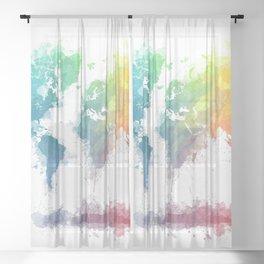 World Map splash 2 Sheer Curtain