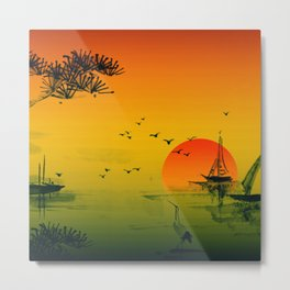 Japanese Sunset Metal Print
