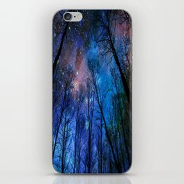 Black Trees Dark Blue Space iPhone Skin