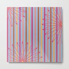 Summer Stripes Floral Art Print Metal Print