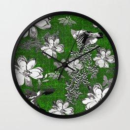 Birds Green Gray White Toile Wall Clock