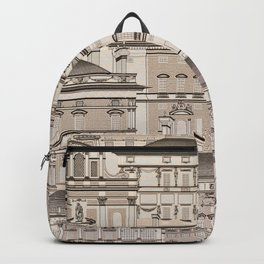 Graphic background with houses Backpack