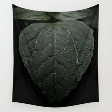 Botanical Still Life Photography Drops On Leaf Wall Tapestry
