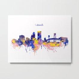 Jacksonville Skyline Silhouette Metal Print