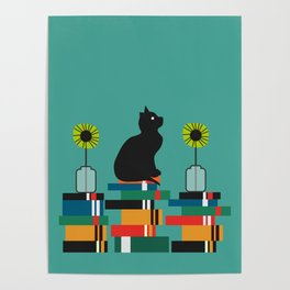 Cat, books and flowers Poster