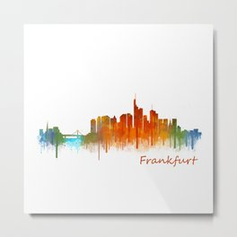 Frankfurt am Main, City Cityscape Skyline watercolor art v2 Metal Print