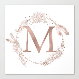 Letter M Rose Gold Pink Initial Monogram Canvas Print