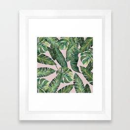 Jungle Leaves, Banana, Monstera Pink #society6 Framed Art Print