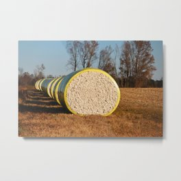 Round Bales Of Cotton Metal Print