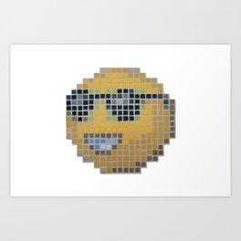 Emoticon Cool Art Print