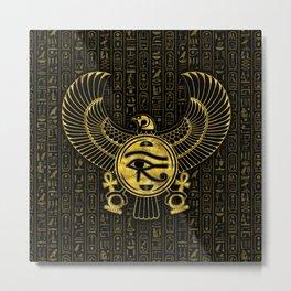 Egyptian Eye of Horus - Wadjet Gold and Black Metal Print