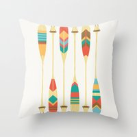 rowing Throw Pillows featuring Summer Lake by Picomodi
