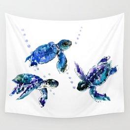 Three Sea Turtles, Marine Blue Aquatic design Wall Tapestry