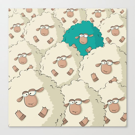 Sheep Pattern | Turquoise Canvas Print