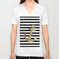 gold glitter V-neck T-shirts featuring GOLD GLITTER ANCHOR IN BLACK AND NUDE by colorstudio
