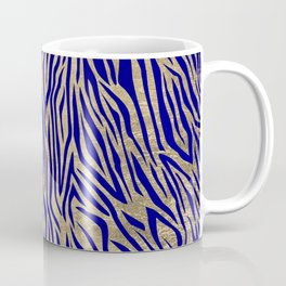 Modern Elegant Navy Blue Gold Zebra Animal Print Pattern Coffee Mug