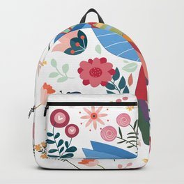 Folk Art Inspired Hummingbird In A Burst Of Springtime Blossoms Backpack