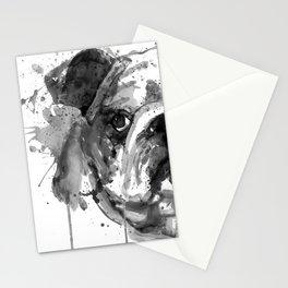 Black And White Half Faced English Bulldog Stationery Cards