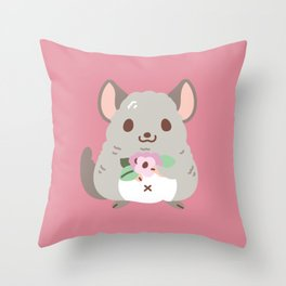Chinchilla and flowers Throw Pillow