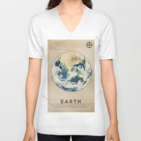 earth V-neck T-shirts featuring Earth by Heather Landis
