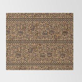 Golden Renaissance Damask Throw Blanket