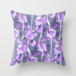 Simple Iris Pattern in Pastel Purple Throw Pillow