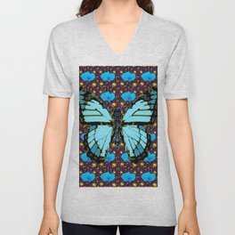BLUE POPPY FLOWERS & BLUE MONARCH BUTTERFLY Unisex V-Neck